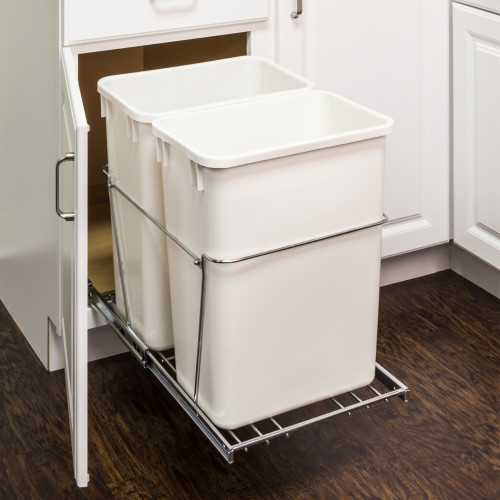 Polished Chrome 35 Quart Double Pullout Waste Container Syst