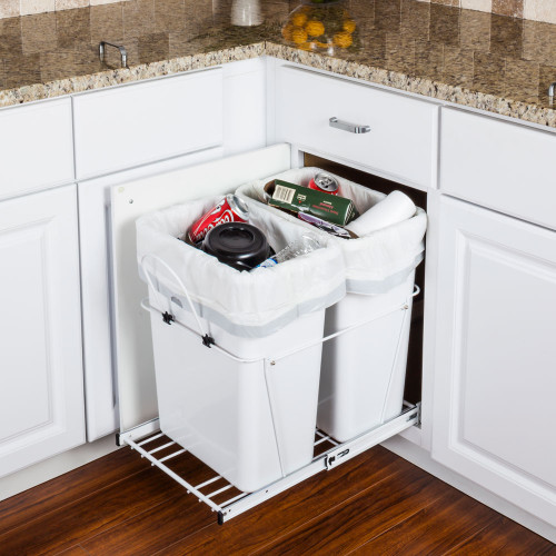 White 35 Quart Double Pullout Waste Container System