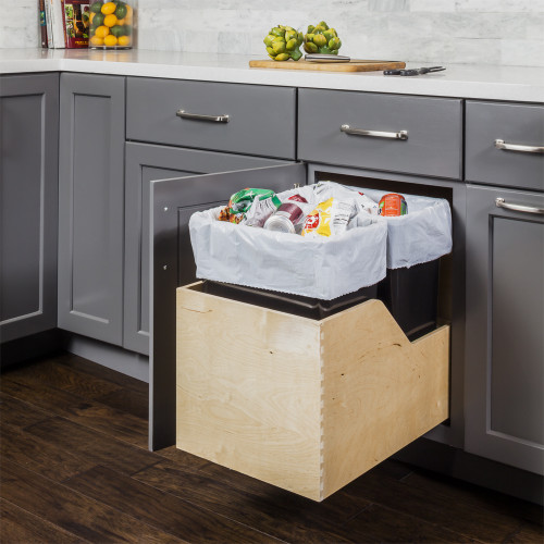 Black Preassembled 35 Quart Double Pullout Waste Container System