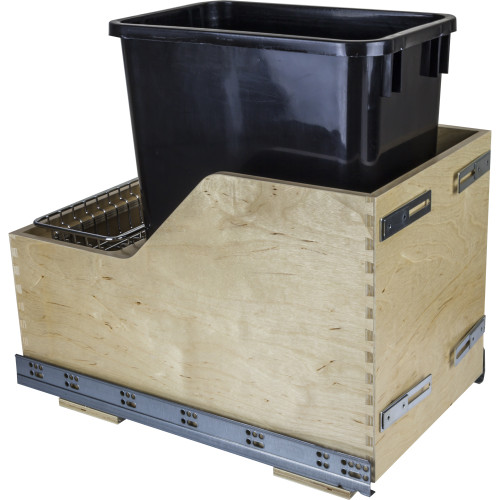 Black Preassembled 35 Quart Single Pullout Waste Container System