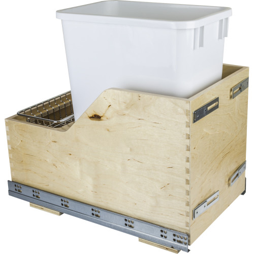 White Preassembled 35 Quart Single Pullout Waste Container System