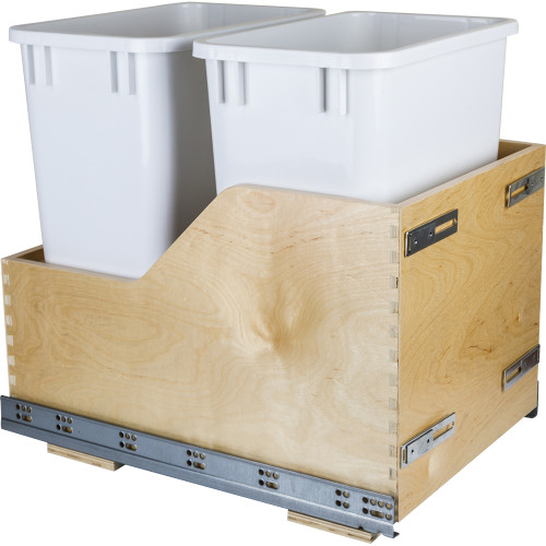 White Preassembled 35 Quart Double Pullout Waste Container System