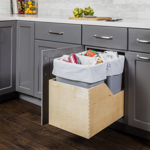 Grey Preassembled 35 Quart Double Pullout Waste Container System