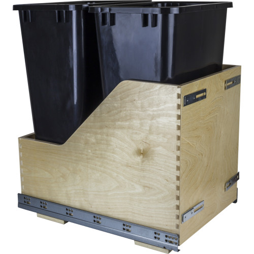 Black Preassembled 50 Quart Double Pullout Waste Container System
