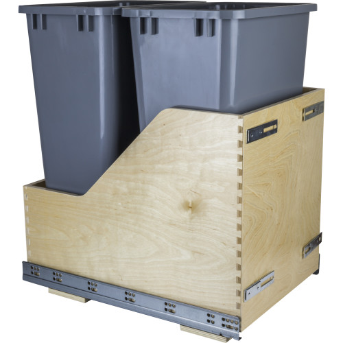 Grey Preassembled 50 Quart Double Pullout Waste Container System