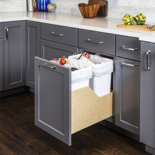 White Preassembled 50 Quart Double Pullout Waste Container System