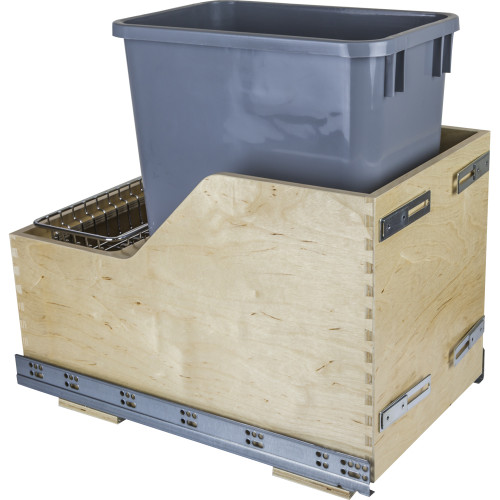 Grey Preassembled 35 Quart Single Pullout Waste Container System