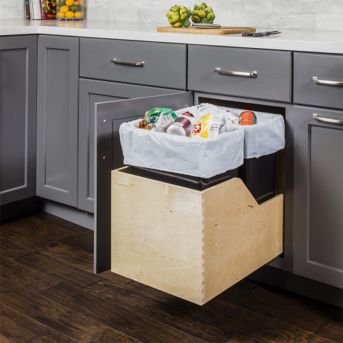 Black Preassembled 50  Quart Single Pullout Waste Container System