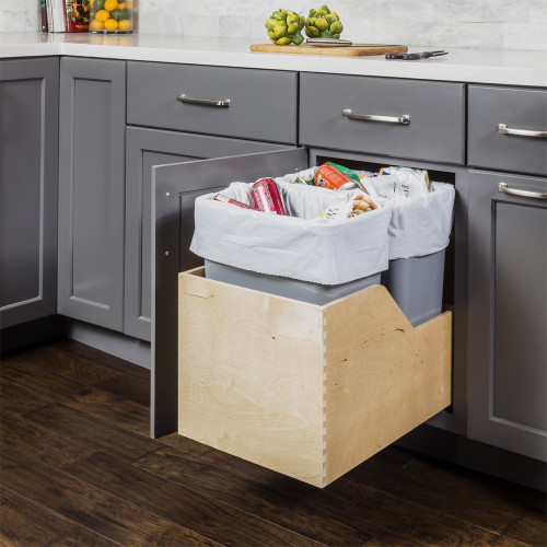 Grey Preassembled 50 Quart Single Pullout Waste Container System