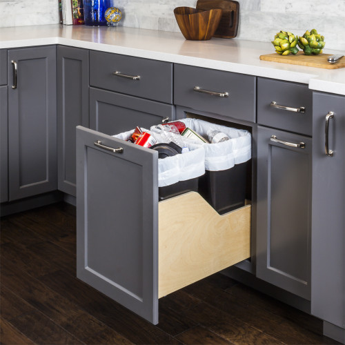 Black Preassembled 50- Quart Single Pullout Waste Container System