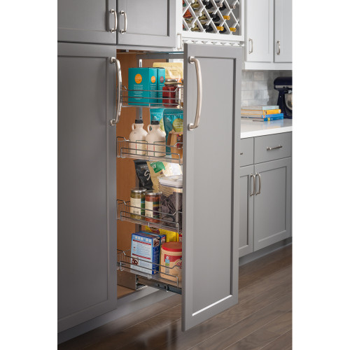 "Polished Chrome 15"" Wide x 63"" High Chrome Wire Pantry Pullout with Heavy Du"