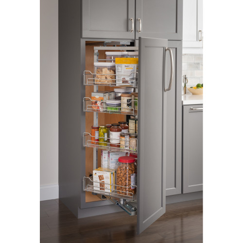 "Polished Chrome 12"" Wide x 86"" High Chrome Wire Pantry Pullout with Swingout"