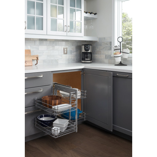 """Chrome Blind Corner Universal Basket Pullout for 15-3/4"""" Opening"""