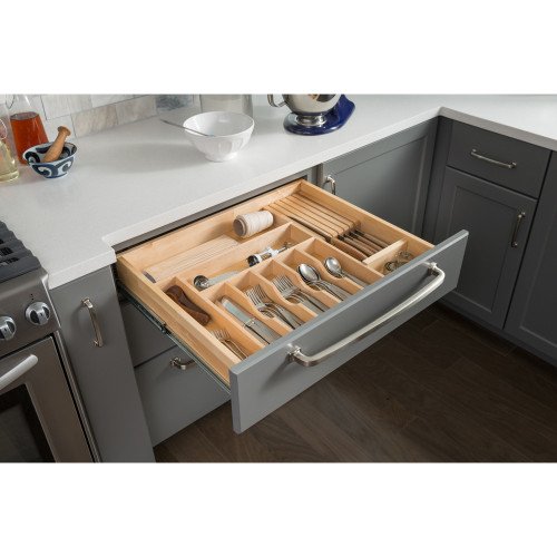 "UV Coated 14"" Drawer Organizer Insert Cutlery Tray"