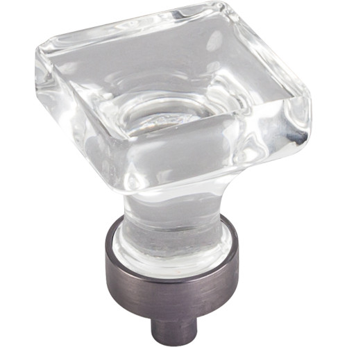 """Brushed Pewter 1"""" O.L. Harlow Small Square Glass Knob"""