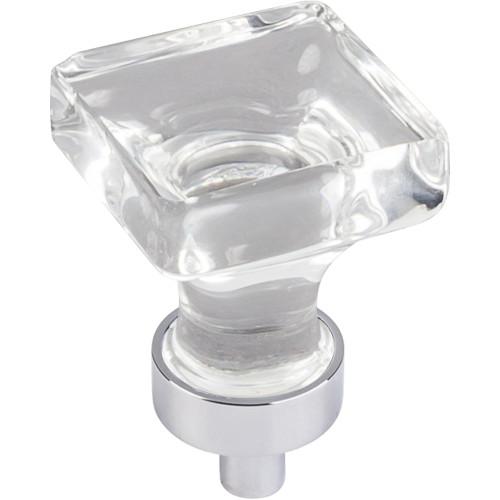 "Polished Chrome 1"" O.L. Harlow Small Square Glass Knob"