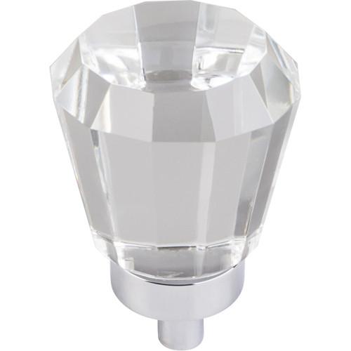 "Polished Chrome 1"" Diameter Harlow Small Tapered Glass Knob"