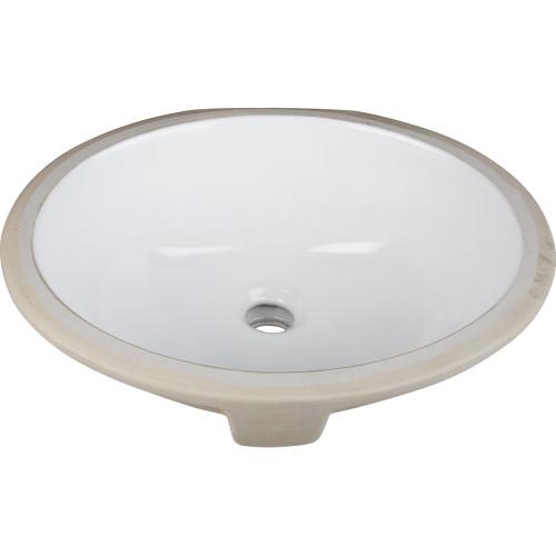 "White 15"" x 12"" Oval Undermount Porcelain Sink Basin."