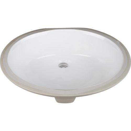 "White 17"" x 14"" Undermount Porcelain Sink Basin."