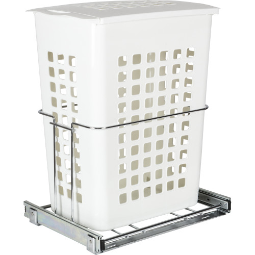 Chrome Plastic Pullout Hamper with Lid
