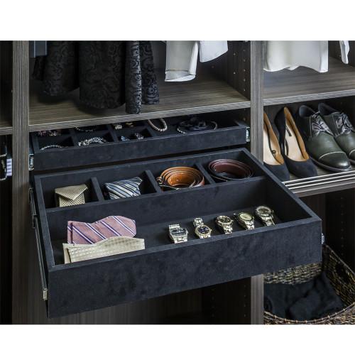 Black 5 Compartment Black Felt Jewelry Organizer Drawer Kit