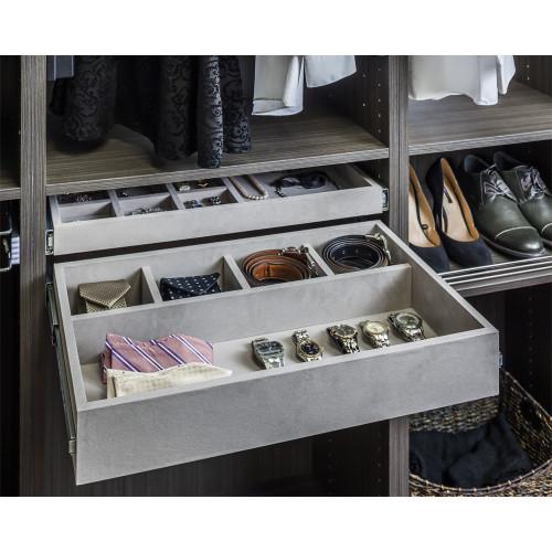 Grey 5 Compartment Grey Felt Jewelry Organizer Drawer Kit