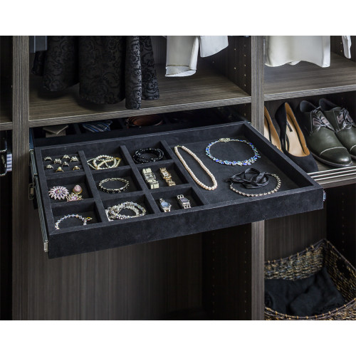 Black 10 Compartment Black Felt  Jewelry Organizer with Ring Inser