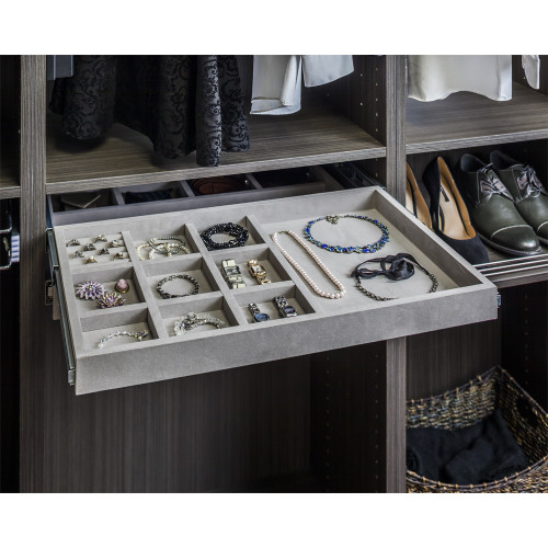 Grey 10 Compartment Grey Felt  Jewelry Organizer with Ring Insert