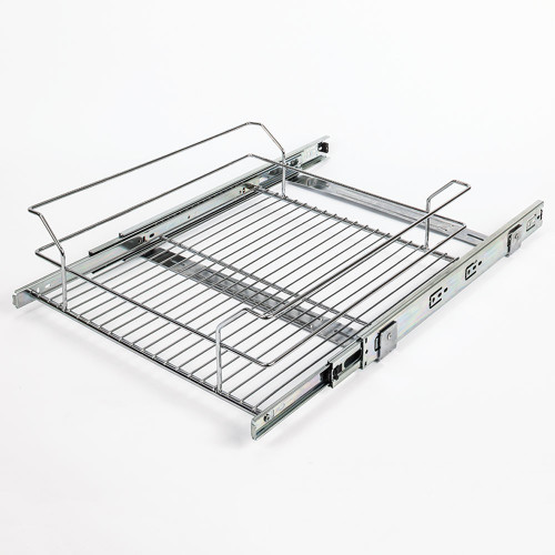 "Polished Chrome 14-3/8"" Polished Chrome Pullout Basket for 15"" Cabinet Openi"