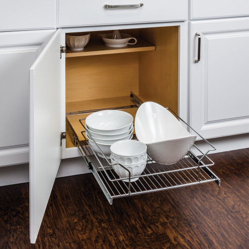 """Polished Chrome 17-3/8"""" Polished Chrome Pullout Basket for 18"""" Cabinet Opening"""