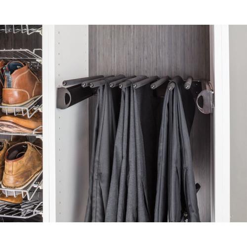 "Polished Chrome 24'' Pant Rack for 14"" Deep Closet System."