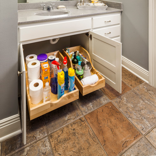 """UV Coated 13-1/16"""" Preassembled Vanity Depth High Back Rollout Drawer"""