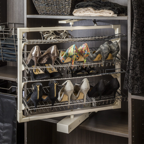 Chrome Rotating Shoe Rack with Four Shelves