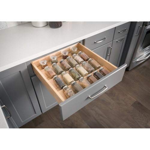 "UV Coated 15-1/4"" Spice Tray Organizer for Drawers"