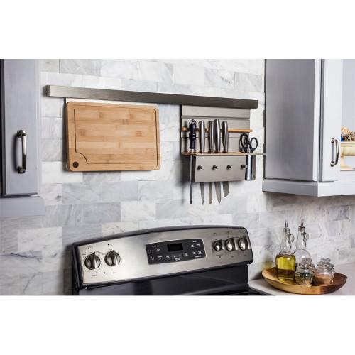 Aluminum Knife-Block Combo Hanging Shelf for Smart Rail Storage Solut