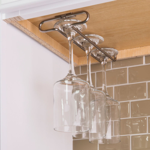 Satin Nickel Under Cabinet Stemware Rack