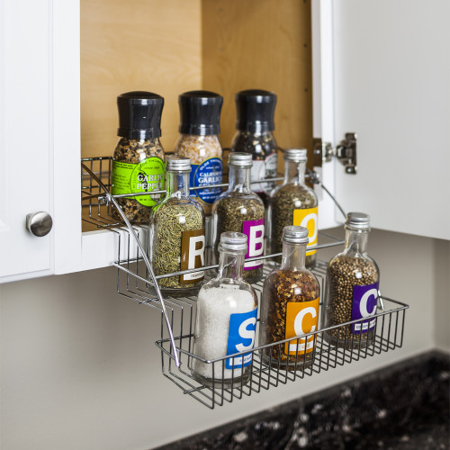 Polished Chrome 3-Tier Spice Rack Pulldown