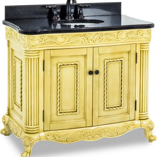 "Antique White Antique Ornate Jeffrey Alexander Vanity   39-11/16"" x 22-3/4"