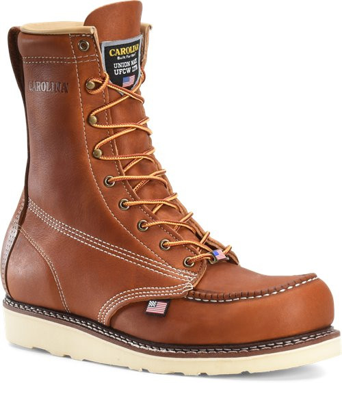 Amp USA 8 Inch Tobacco Stampede Steel Moc Toe Boot CA7502