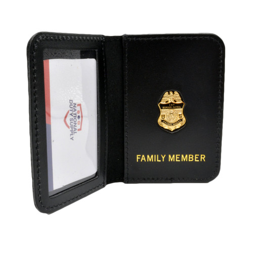 US Border Patrol Agent Family Member Badge Leather ID Wallet Case