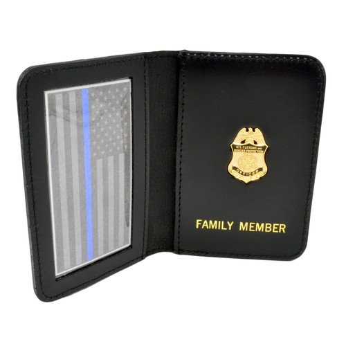 CBP Customs and Border Protection Family Member Badge Leather ID Wallet Case
