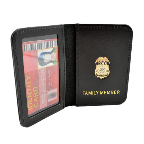 DHS Officer Family Member Badge Leather ID Wallet Case