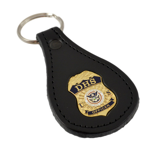 DHS Officer Mini Badge Leather Key Ring