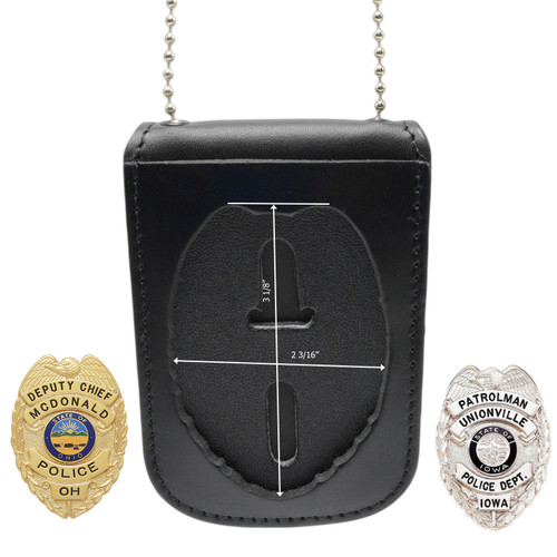 """Police and Fireman 3"""" Eagle Top Neck Badge and ID Holder - B296 S155"""