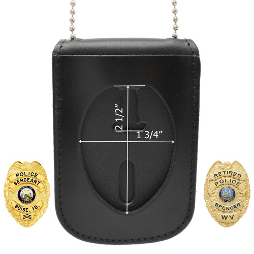 "2.5"" Eagle Top Police Neck Badge Holder ID Case - B957 S93"