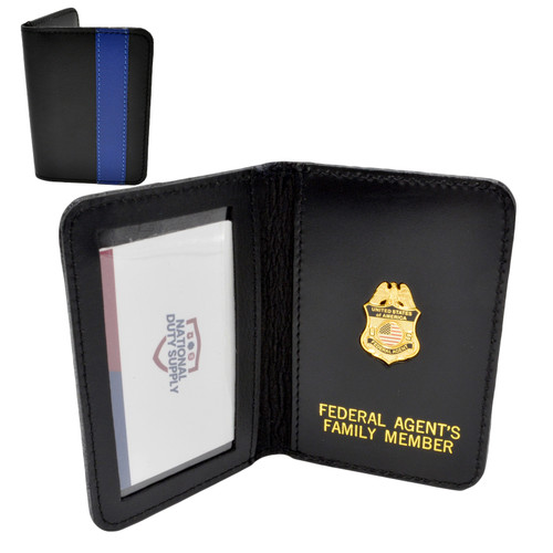 Thin Blue Line Federal Agent Mini Badge Family Member Wallet