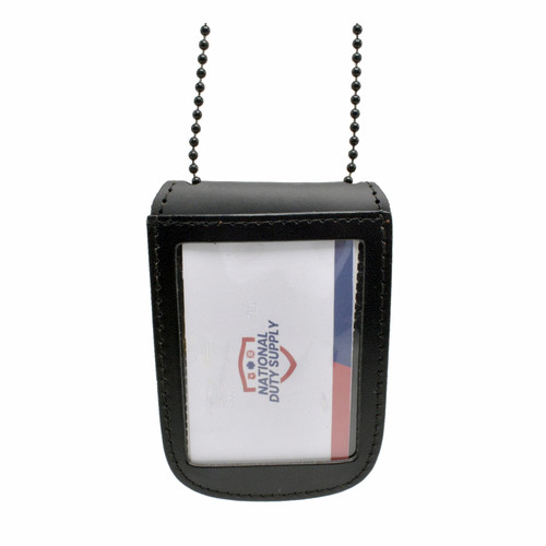 Leather Double ID Holder with Neck Chain