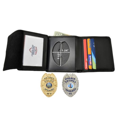 """Cobra Tufskin Police Badge Wallet - 2.5"""" Eagle Top Badges - Billfold Credit Card Holder"""