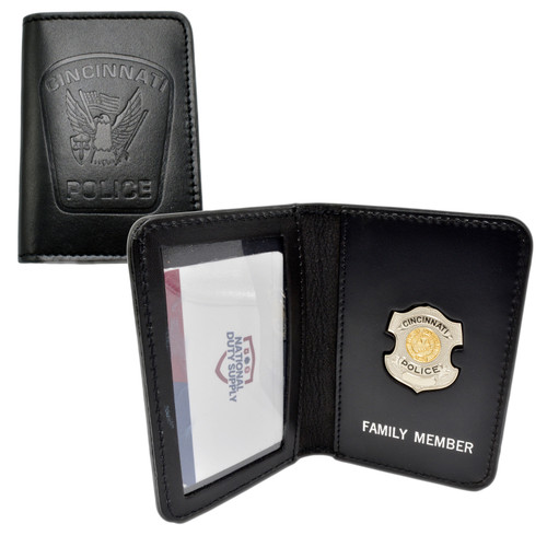 Cincinnati Police Officer Family Member Badge Leather ID Wallet Case
