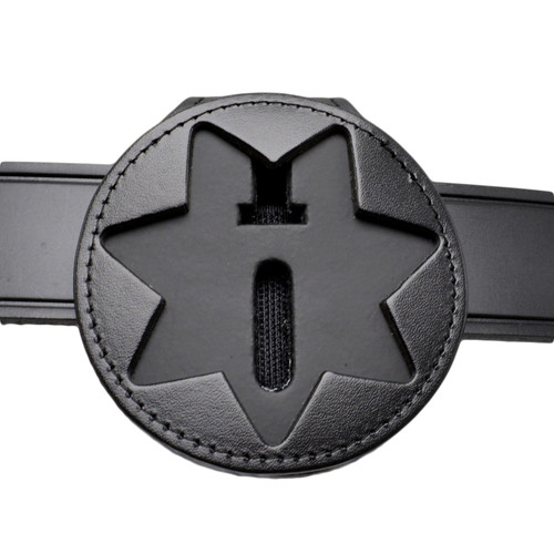 7 Point Star Recessed Clip On Belt Around Neck Leather Badge Holder